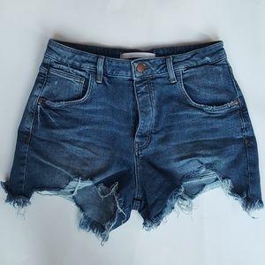 Zara Distressted high rise jean shorts